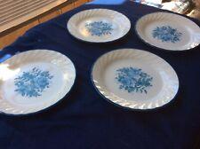 """4 Corning Corelle BLUE VELVET Roses Flowers Swirl Rim 7 1/8"""" Salad Plates Nice!"""