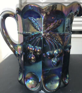 Mosser Amethyst Cherry & Cable Carnival Glass Pitcher