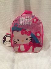 New Hello Kitty Vinyl Lil Girls Backpack With Rain/wind Hood  OSFM  Color Pink