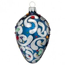 "Waterford Holiday Heirlooms 3"" Sapphire Scroll Egg 2013 Ornament New In Box"