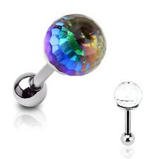 "1 PC 16g 1/4"" 6mm RAINBOW CRYSTAL BALL Ear Cartilage Tragus helix  Earring Stud"