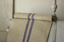 Vintage fabric homespun hemp Purple stripe 3.9 yards table runner coarse fabric