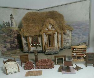 Miniature Handmade Beach House Cottage Diorama w/Furniture Rotates, Lights Up
