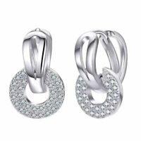 Band Ohrringe 925 Sterling Silber Klapp Creolen Doppelreihen Damen Hoop earrings