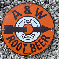 VINTAGE A&W ROOT BEER PORCELAIN SIGN USA OIL LUBE GAS STATION SODA POP GAS PUMP