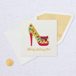 Hallmark Birthday Card by Signature ~ 3D Gemstone High Heel Shoe Fashionista