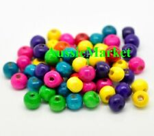100 x wooden wood painted beads 8mm x 6mm mixed colours coloured paint jewellery