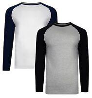 Smith & Jones Men's Long Sleeve Raglan Cotton Crew Neck T-Shirt Top 2-Pack
