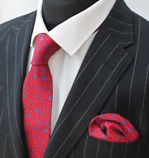 Tie Neck tie with Handkerchief Red with Blue Floral