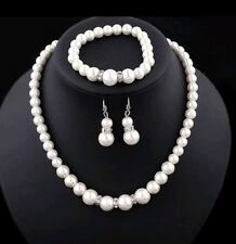 Faux Pearl Necklace Bracelet And Earring Set bridesmaid set kids adults.