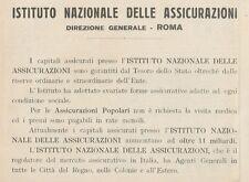 Z1683 Istituto Nazionale delle Assicurazioni - Pubblicità d'epoca - 1930 Old ad