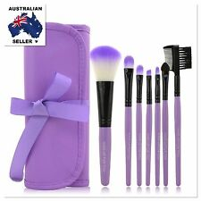 Cosmetic Makeup 7Pc Brush Set In Pouch For Eyes Face Blush Eyeshadow Liner Brows