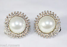 Earrings rhinestone Pearl Like design clip on studs costume jewellery E50394