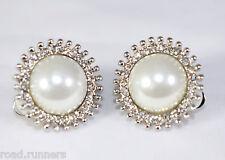 Earrings rhinestone Pearl Like design clip on studs costume jewellery E50394
