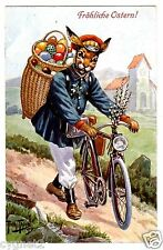POSTCARD THIELE RABBIT POSTMAN WITH BICYCLE EASTER DELIVERY T.S.N. 1240