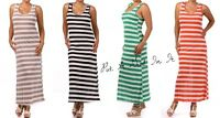 PLUS SIZE STRIPED NAUTICAL MAXI SUNDRESS LONG BOHO COVER TANK TOP DRESS 1X 2X 3X