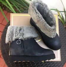 ASH Yorki Winter Boots, Black Leather, Faux Fur, Size 37/7 M, New with Box