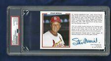 Stan Musial Autographed St Louis Cardinals Baseball Postcard Photo PSA SLAB