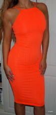 RIVER ISLAND 🌈NEW WITH TAGS🌈 NEON CORAL ORANGE BODYCON MIDI DESS UK SIZE 6-8