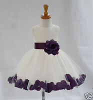 IVORY FLOWER GIRL DRESS WEDDING FORMAL PAGEANT ROSE PETALS 12-18M 2 3T 4 6 8 10