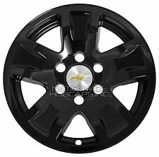 "4 Gloss Black 14-17 Silverado Tahoe 17"" Wheel Skins Hub Caps Aluminum Rim Covers"