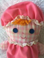 Lolly Rag Doll 1975 Fisher Price #420 Pink Gingham Plush Rattle Crib Toy