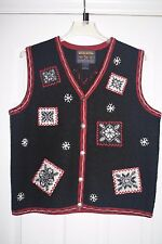 154 WOOLRICH Womens Christmas Sweater Wool Vest Black Snow Ski Winter MEDIUM