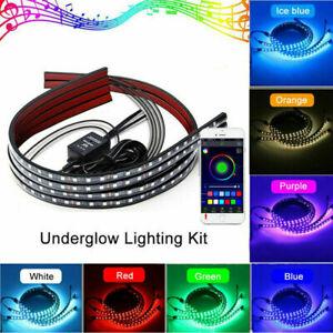 4pcs RGB Auto unter Schlauch Lampe LED Streifen Unterboden Leuchten Neonlichter