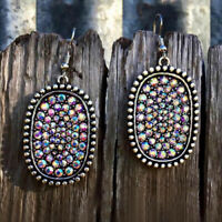 Boho Tibetan Silver Cubic Zirconia CZ Drop Hook Earrings Women Vintage Jewelry