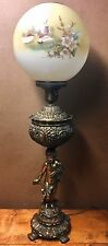 Antique Victorian Cherub Banquet Oil Lamp Brass Spelter w/ Hand Painted Shade