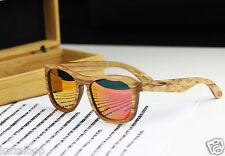 Madera Bambú Cuadrado Cebra Marco Espejo Rojo Gafas de Sol Polarizadas con Caja