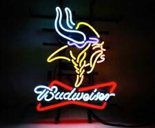 "New Budweiser Minnesota Vikings Neon Light Sign 20""x16"" Beer Cave Gift Lamp Bar"