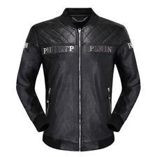 PHILIPP PLEIN Men's Long Sleeve Pu Leather Jacket Skull Back Zipper Ourwear