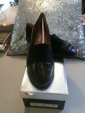 Ladies Womens Flat Bargain BLACK SUEDE Patent suedette Loafers Shoes size 6