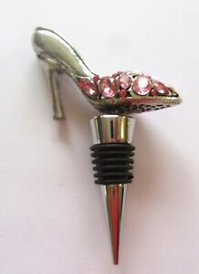 Cheers SHOE- Wine Bottle  Stopper -silver color -metal- pink stones- high heel