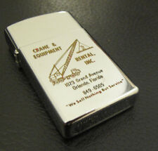 VINTAGE SLIM ZIPPO 1974 CRANE & EQUIPMENT RENTAL INC. ORLANDO, FLORIDA