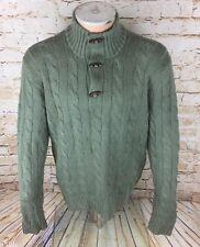 Polo Ralph Lauren 100% Silk Cable Knit Toggle Jumper Sweatshirt Sz Large Mens