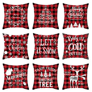 Merry Christmas Cushion Cover Plaid Polyester Sofa Pillow Case Xmas Home Decor