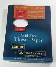 Eaton by Southworth Thesis Paper Acid Free White 20lb 8.5x11in 25% Cotton Used