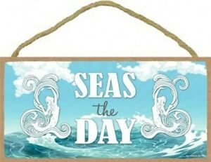 "Seas The Day Mermaid Ocean Beach Sea Blue Sky Hanging 10""X5"" Wood Sign NEW B84"