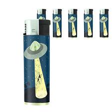 Vintage Alien Abduction D10 Lighters Set of 5 Electronic Refillable Butane