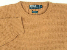 VTG NOS 90s Polo Ralph Lauren Waffle Knit Camel Hair Blend Crewneck Sweater XL