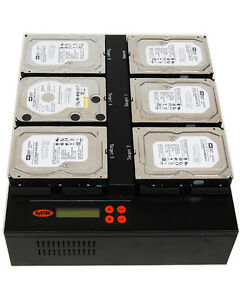 SySTOR 1:5 SATA Flatbed Hard Disk Drive HDD/SSD Duplicator Eraser - 300MB/sec