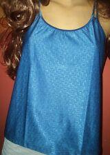 Tolles Glanz Unterhemd Damen Top Gr. 40 blau Damenshirt NEU (B93)