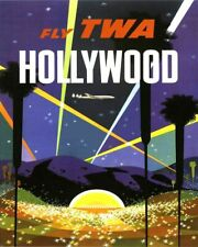 Vintage Illustrated Travel Poster CANVAS PRINT TWA Hollywood California A3