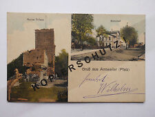 "AK ""Gruss aus Annweiler"" (Pfalz - Trifels) um 1917, Militär-Briefstempel #AT017"