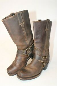 Frye USA Made Womens 7.5 M Brown Leather Pull On Harness Motorcycle Boots 351153