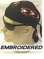 RED & WHITE SPIDERS Embroidered Tied FITTED Bandana skullCap du Doo RAG DO RAG