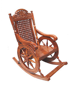 Handcrafted Teak Wood Rocking Chair for Living Room/Garden