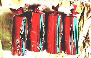 """4  Pack of 4 Medium  Red  Metallic PILLAR Candles 4.5""""  x 2.5""""  Metallic"""
